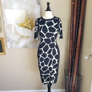 Maggy L ~ Black & White Giraffe Sheath Dre…